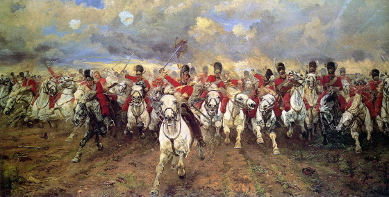 The charge of the Scots Greys at Waterloo