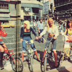 1970s bicycle girls in Buenos Aires