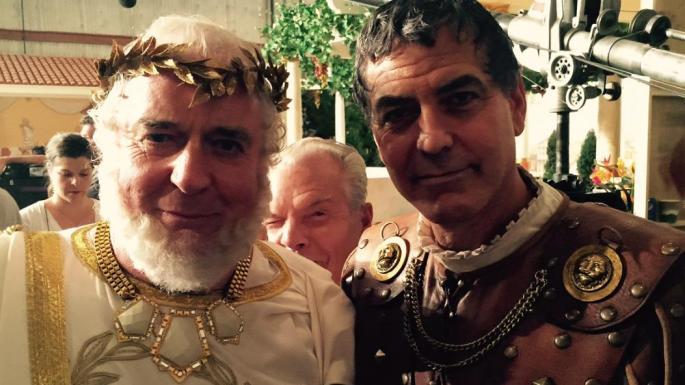 Baron Clement von Franckenstein with George Clooney in 2015 on the set of Hail, Caesar!