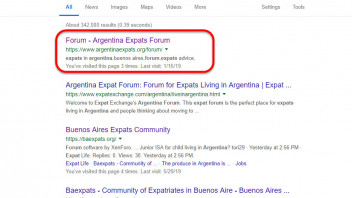 Argentina Expats is top of SEO rankings in Google - Forum